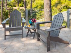 Fascinating Polywood Adirondack Chairs For Your Relaxing Outdoor Area: Polywood Adirondack Chairs With Chair Design Wooden Adirondack Chairs With Ottoman Design Also Grey Tile Design For Outdoor Design