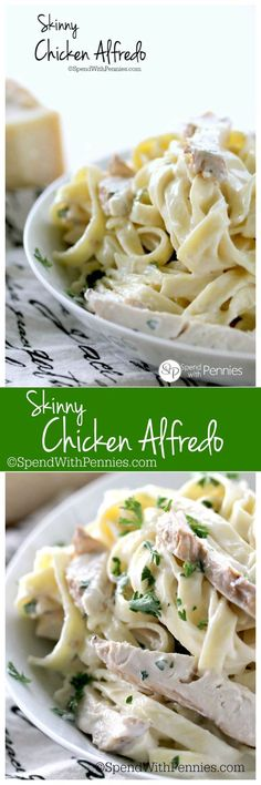 Skinny Chicken Alfredo! Skinny Chicken Alfredo is a rich, creamy & delicious pasta lightened up!  Perfect with leftover baked or grilled chicken!  We love to add our favorite veggies too; broccoli or mushrooms are perfect with this dish!