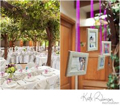 pretty way to display engagement photos at the wedding reception | Photography by katerobinsonphotography.com