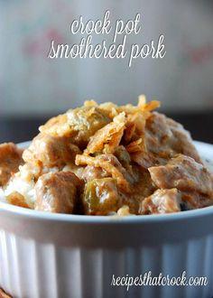 Crock Pot Smothered Pork #crockpot