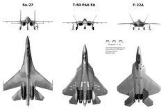 Su-27, Sukhoi T-50, and F-22 comparison