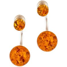 Be-Jewelled Cognac Amber Sterling Silver Double Bead Earrings ($77) ❤ liked on Polyvore featuring jewelry, earrings, beaded jewelry, studded jewelry, amber jewellery, amber earrings and sterling silver bead earrings