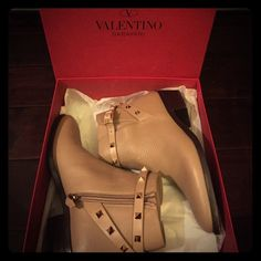 Valentino Rockstud Booties Authentic Valentino Rockstud ankle booties. In great condition, worn only once. Currently sold at Saks and Nordstrom for $1295. Size 38. Includes dust bag and box. Valentino Shoes Ankle Boots & Booties