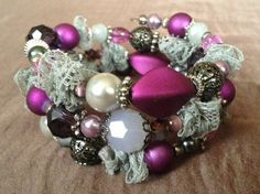Weaved Lace Grey Purple and Silver Custom by PeacocksandLeopards, $24.00