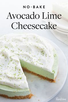 No-Bake Avocado Lime Cheesecake via @PureWow. Use gluten free cookies to make crust (Trader Joe's ginger chunk cookies?)