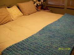 3 Shades of Blue Bed Throw--Ocean, Delft Blue, and Aqua for $140.00 #onselz