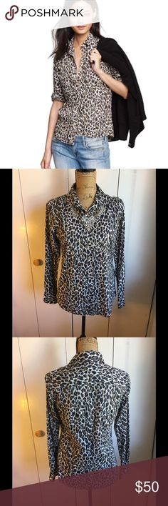 ✨NEW J.CREW ANIMAL PRINT BUTTON DOWN✨ New with tags J.Crew 'the perfect shirt' animal print button down. Long sleeve. Size 4. 100% cotton. J. Crew Tops Button Down Shirts