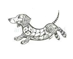 Art of Dachshund Dachshund Zentangle \ Dachshund Tattoo, Dachshund Funny, Dachshund Art, Dashund, Weenie Dogs, Doggies, Dog Art, Zentangle, Coloring Pages
