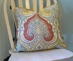 "red,blue, and yellow damask pillow cover with insert.  20"" square"