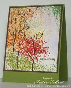Fall colors using Sheltering Tree stamp Tarjetas Diy, Stamping Up Cards, Fall Cards, Watercolor Cards, Halloween Cards, Creative Cards, Greeting Cards Handmade, Diy Cards, Scrapbook Cards