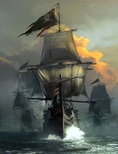A pirate ship RP. So far there is only one ship. Ask me or send me a message to make your own ship. Pirate Art, Pirate Life, Pirate Ships, Pirate Flags, Digital Art Illustration, Bateau Pirate, Old Sailing Ships, Ghost Ship, Black Sails