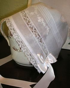 Simple & sweet... Heirloom bonnet with insertion and tucks.