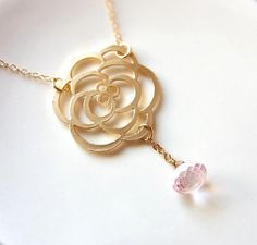 Gold Rose and Pink Mystic Quartz Necklace . gold filled chain . by CocoroJewelry