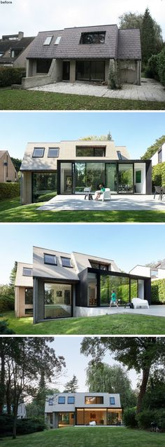 At the rear of this home, you can see that the designer's extended the home out into the backyard slightly, and small windows were replace with larger ones, allowing more natural light to fill the interior of the home.