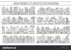 Sketch big city architecture with houses, factory, trees, cars. Panorama set of streets in a row. Hand-drawn illustration isolated on white.