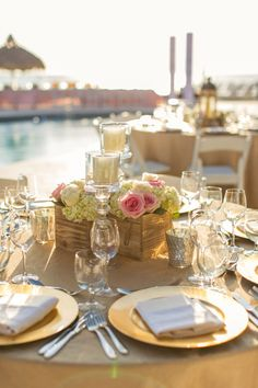 Glamorous Oceanfront Blush and Gold Wedding - Every Last Detail Swanky Soiree Events- Day of Coordination www.swankysoireeevents.com Concept Bait-Centerpieces and Florals