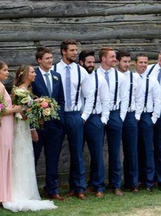 Blue Groomsmen Suits, Groomsmen Suspenders, Groomsmen Outfits, Groom And Groomsmen Attire, Bridesmaids And Groomsmen, Navy Suit Groom, Blue Suits, Beach Wedding Groomsmen, Blue Suit Wedding