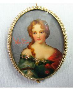 Miniature Portrait 14k Gold Pearls Artist Signed Vintage Charm Pin Brooch