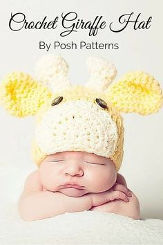 An adorable Giraffe Hat Crochet Pattern! Perfect for boys and girls, and includes directions for all sizes. By Posh Patterns.