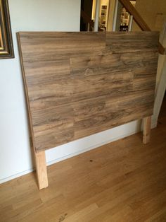 Homemade Rustic Wood Laminate Headboard by FoxDenFurnishings Laminate Flooring Diy, Wood Laminate, Homemade Headboards, Headboards For Beds, Rustic Furniture, Diy Furniture, Plywood Headboard, Rustic Wood Headboard, Mattress On Floor