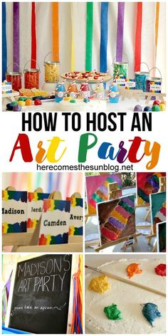 How to Host an Art Birthday Party How to host a fun Art birthday party! I love all these ideas.<br> Host a fun art birthday party with these easy ideas. Artist Birthday Party, 9th Birthday Parties, Craft Birthday Party, Fun Birthday Party Ideas, Birthday Celebration, Art Birthday Cake, Paris Birthday, Spa Birthday, Happy Birthday