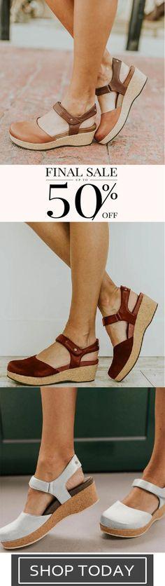 Women's Elegant Flat-bottomed Buckle Solid Color Sandals-2 Curvy Girl Lingerie, Flats, Sandals, Fashion Shoes, Espadrilles, Elegant, Heels, Shopping, Color