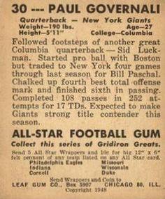 1948 Leaf #30 Paul Governali Back