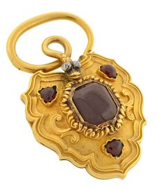 *Large Victorian Garnet and Diamond Snake Padlock Locket, Circa 1880.