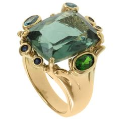 @Overstock - Green quartz, blue topaz, sapphire and chrome diopside ring Sterling silver jewelry Click here for ring sizing guide http://www.overstock.com/Jewelry-Watches/Michael-Valitutti-Two-tone-Multi-gemstone-Ring/7472373/product.html?CID=214117 $99.99