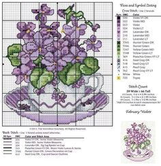 Cross Stitch violets in purple tea cup