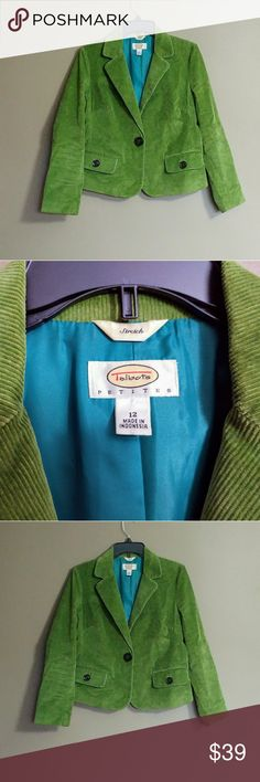 Talbots Green corduroy blazer Beautiful jacket, teal lining. Excellent condition.  No stains or rips. Talbots Jackets & Coats Blazers