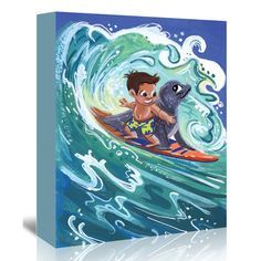 """East Urban Home Leowensurfs  Painting Print on Wrapped Canvas Size: 10"""" H x 8"""" W x 0.5"""" D"""