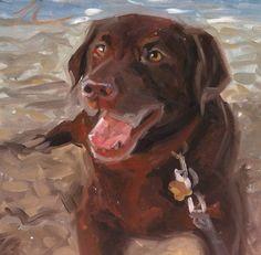 Saoirse our precious Chocolate Labrador Retriever painted by Nadine Robbins