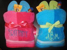 end of the year Teacher Gifts (monogrammed beach towel, flip flops, sunscreen and lip balm)