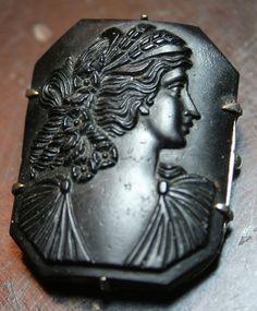 Vintage Art Deco Czech black glass cameo pin brooch by lbjool, $38.00