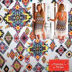 ¿Quieres ir a la última en moda? Pues visita nuestra sección de #Gasas #Estampadas de nuestra página web http://www.latiendadelastelas.com/133-gasa-estampada y confeccionate un vestido como este.