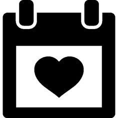 Heart on calendar I Free Icon