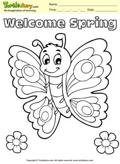 Welcome Spring Butterfly Coloring Page Kids Crafts TurtleDiary ChildEducation