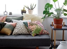 Scandi inspiration from Stoff & Stil* (Mollie Makes) Mollie Makes, Fabric Sofa, Green And Brown, Diy Crafts, Couch, Throw Pillows, Interior, How To Make, Inspiration