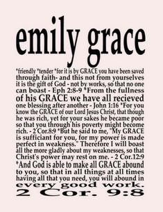 The Meaning Of Emily And Bible Versus With Grace As A Framed Name