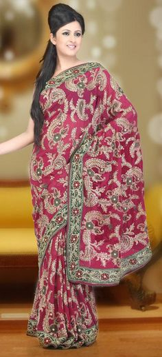 $157.01 Pink Faux Georgette Saree 20147 With Unstitched Blouse