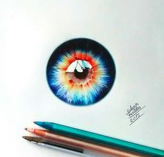 Fascinating Eyes Colors Drawing by Gelson Fonteles.