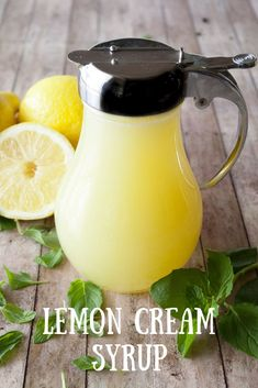 Lemon Cream Syrup Tired of maple syrup for pancakes and waffles? Then you have got to try my lemon cream syrup! It's sweet, tart, and will brighten up your breakfast! Lemon Recipes, Sauce Recipes, Sweet Recipes, Cooking Recipes, Syrup Recipes, Lemon Desserts, Cooking Tips, Lemon Cream, Lemon Lime