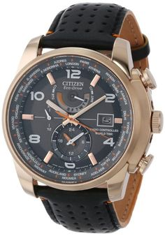 a1599708cf49 Citizen Men s AT9013-03H World Time A-T Eco-Drive World Chrono Black  Leather Strap