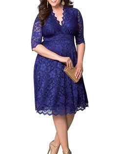 Bridess Plus Size vestido de renda das mulheres Sexy com decote em V meia manga de festa A linha na altura do joelho vestidos em Vestidos de Roupas e Acessórios no AliExpress.com   Alibaba Group
