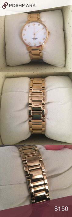 Kate Spade Wellesley watch EUC Kate Spade watch. Needs a battery. Has a few very small scratches on the back, tried to capture in a photo. Hardly noticeable. All links in tact. Comes with box and warranty card. kate spade Jewelry