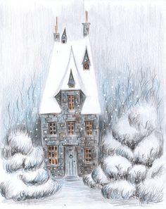 Magic winter house created after the tutorial by Anastasia Lavru Зимний Дом, Снег, На Открытом Воздухе