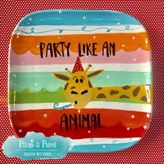 Party Like an Animal New Year's Eve Plate created at Paint a Piece in Germantown, TN.