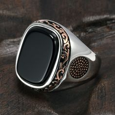 Buy it before it ends. There is always many products on sae upto - Real Pure Mens Rings Silver Retro Vintage Turkish Rings For Men With Natural Black Onyx Stones Turkey Jewelry - Fast Mart Black Onyx Ring, Black Rings, Stone Rings For Men, Men Rings, Turkish Rings, Steampunk Rings, Sterling Silver Mens Rings, 925 Silver, Vintage Rings