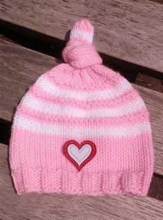pink knit baby hat pink baby beanie top knot by UniqueKnitDesign